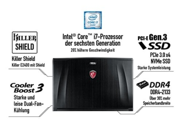 MSI GE62-6QD161 39,6 cm (15,6 Zoll) Notebook (Intel Core i7 -6700HQ (Skylake), 16GB DDR4 RAM, 1TB HDD, NVIDIA Geforce GTX 960M, Win 10 Home) schwarz -